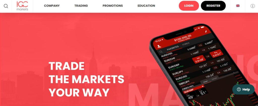 IGC Markets trading platform